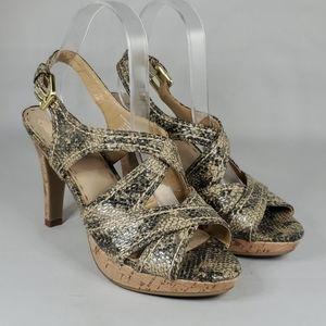 ATTENTION Snakeskin Print Strappy Heels